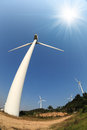 Wind power turbines under the blue sky Stock Images