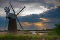 Wind pump on the norfolk broads Royalty Free Stock Photo
