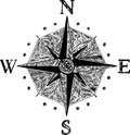 Wind rose black and white decorated Stock Photo