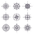Wind rose or old, vintage compass heraldic icons