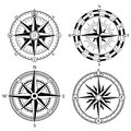 Wind rose retro design vector collection. Vintage nautical or marine wind rose and compass icons set, for travel