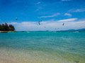 Wind surfers at sports event on koh phangan island thailand Royalty Free Stock Photo