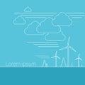 Wind Turbine Alternative Energy Resource Banner Thin Line
