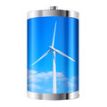 Wind turbine battery containing against blue sky Stock Photo