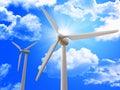 Wind turbine and blue sky Royalty Free Stock Photo