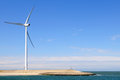 Wind turbine on coast Stock Photo