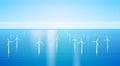 Wind Turbine Energy Renewable Water Station Sea Background