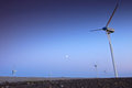 Wind turbine farm with blue sky in the evening Stock Image