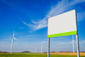 Wind turbine field blank board on area with energy windmills Royalty Free Stock Photos