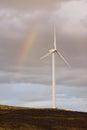 Wind Turbine Green Energy Rain Weather Rainbow Royalty Free Stock Photo