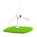 Wind turbine on green lawn white d rendered image energy concept Stock Photos