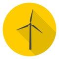 Wind turbine icons set with long shadow