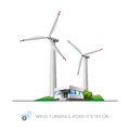 Wind turbine power station isolated turbines illustration with office building on white background Stock Images