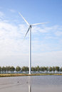Wind turbine and row of trees next to lake in holland Royalty Free Stock Image