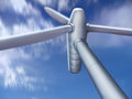 Wind turbine seen from the bottom Stock Photos