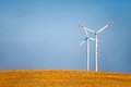 Wind turbine summer landscape with turbines Royalty Free Stock Photography