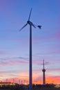 Wind turbine on sunset background stock photo Royalty Free Stock Photography