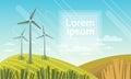 Wind Turbine Tower In Field Blue Sky Alternative Energy Source Technology