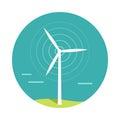 Wind Turbine Vector Illustration In Flat Design