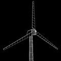 Wind turbine vector wireframe