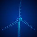 Wind turbine vector wireframe