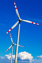 Wind turbine of a wind power plant for electricity obtaining alternative and sustainable energy generation Stock Photography