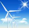 Wind turbines on the blue sky background and sun Royalty Free Stock Photos