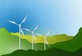Wind turbines blue sky illustration design graphic landscape Royalty Free Stock Image