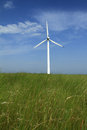 Wind turbines in china beautiful green meadow with generating electricity inner mongolia of Royalty Free Stock Photos