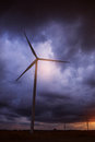 Wind turbines with a dark sky Royalty Free Stock Photo