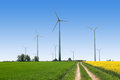Wind turbines farm. Alternative energy source. Royalty Free Stock Photo