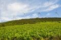 Wind turbines farm, Elgea range (Basque Country) Royalty Free Stock Photo