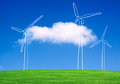 Wind turbines farm on green field Stock Photography