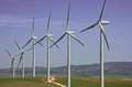 Wind turbines farm windmills for electric power production cadiz province andalusia spain Royalty Free Stock Photos