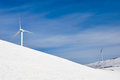Wind turbines farm in winter (Basque Country) Stock Photos