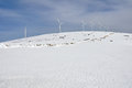 Wind turbines farm in winter basque country Royalty Free Stock Photo