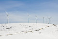 Wind turbines farm in winter (Spain) Stock Images