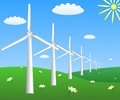 Wind turbines on a field with camomiles Royalty Free Stock Photo