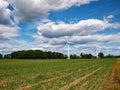 Wind turbines generating electricity alternative renewable energy Royalty Free Stock Images