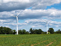 Wind turbines generating electricity alternative renewable energy Royalty Free Stock Photo