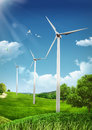 Wind turbines on green fields and shiny blue skies energy concept illustration Royalty Free Stock Photos