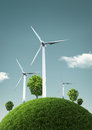 Wind turbines on green fields and shiny blue skies green ener energy concept illustration Royalty Free Stock Photo