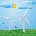 Wind turbines green meadow with red flowers and generating electricity Royalty Free Stock Photos