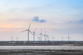 Wind turbines in mud flat on the coastal sunset Stock Photography