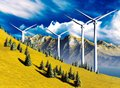 Wind turbines onshore Royalty Free Stock Image