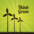 Wind turbines over green background vector illustration Stock Photos
