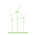 Wind turbines renewable energy concept green white Royalty Free Stock Photo