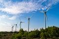 Wind turbines for renewable energy group of winmills Stock Photo