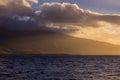 Wind turbines on a ridge in Maui Royalty Free Stock Photo