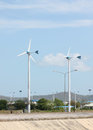 Wind turbines in running. Royalty Free Stock Photo